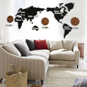 World Map Clock Large Office Wall Clock Wall Decor Modern Creative Living Room Clocks Wooden Quartz Clock