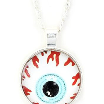 Bloodshot Eye Necklace Silver Tone NW10 Eyeball Art Pendant Fashion Jewelry
