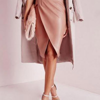 Pale Pink High Waist Ruched Wrap PU Pencil Skirt