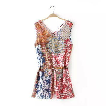 Summer Women's Fashion Print V-neck Sleeveless Slim Shaped Casual Jumpsuit Romper [4933134340]