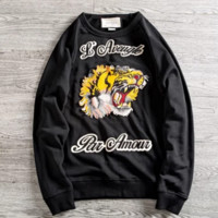 GUCCI Fashion New Embroidery Letter Tiger Couple Leisure Sports Long Sleeve Sweater Top Black
