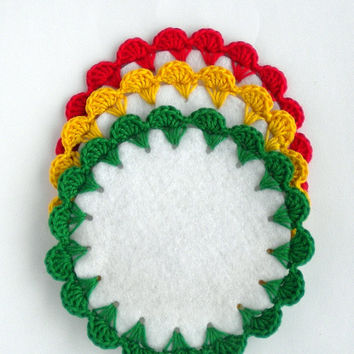 Doily coaster set, reggae home decor, crochet coaster,  table placemat, rasta party decoration