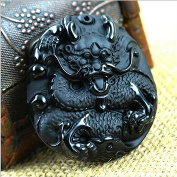 Natural Obsidian Vintage Necklace Fashion Black Dragon Pendants For  men Fine jade Jewelry  rope unisex