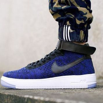 PEAPNW6 Originals Nike Air Force One 1 Flyknit Mid Blue / Black / White Running Sport Casual Shoes '07 817420-400 Sneakers