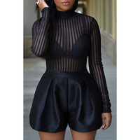 Sexy Turtle Neck Striped See-Through Long Sleeve Romper