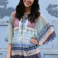 Print Blocked Peasant Top