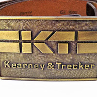 Kearney & Trecker Brass Plate Buckle, Vintage Advertising Belt Buckle