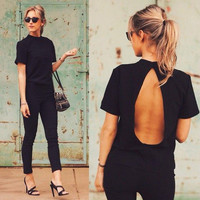 Women Sexy Slim Backless Halter Neck Short Sleeve Erotic T-Shirt _ 8033