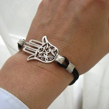 Hamsa Bracelet Hand of Fatima with satin black cord Kabbalah Silver...... | Missglory - Jewelry on ArtFire