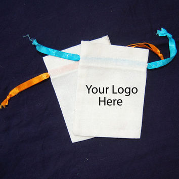 Cotton bag Personalised logo bag custom jewelry gift bags small pouch drawstring pouch