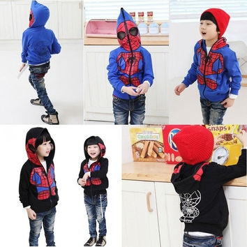 New Kids Spiderman Coat Boys Hoodies Girls Full Zipper Mask Jacket Size 3 8 Year = 1932295492