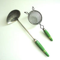 Vintage Ladle and Strainer with Wood Green Handles with Yellow Stripes Matching Set