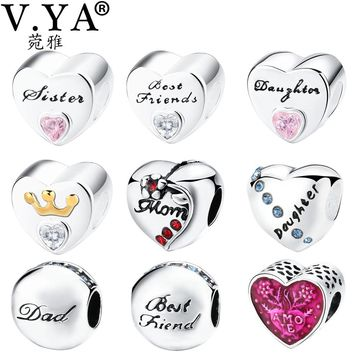 V.YA Family Jewelry DIY Charms Beads fit for Pandora Bracelet Bangle Friendship Bead for Women Men Gifts