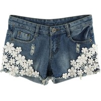 Sheinside Women's Blue Lace Rivet Pant