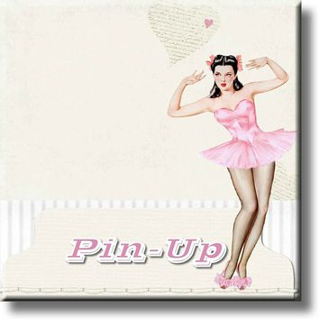 Retro Vintage Pink Pin Up Girl Picture on Stretched Canvas, Wall Art Décor, Ready to Hang