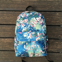 Women's Canvas Flower Print Backpack Travel Bag Outdoor Daypack School Bag