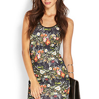 FOREVER 21 Floral Scuba Knit Dress Black/Green