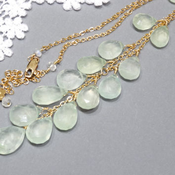 2 Prehnite 14K Gold Filled Necklace