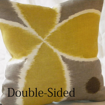 Ikat yellow grey brown linen pillow cover 16 x 16 by MicaBlue