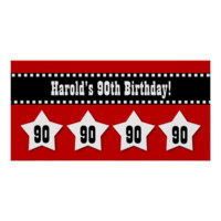 90th Birthday Red Black White Stars Banner V90S Poster