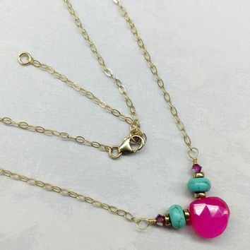 14KT Gold Filled Hot Pink Chalcedony and Turquoise Gemstone Necklace