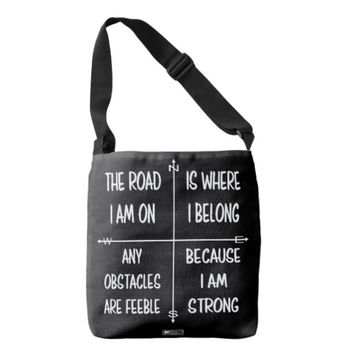 Strong Quote by Kat Worth Crossbody Bag