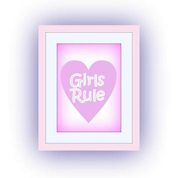 Girls rule, Pastel Pink Baby girl, Nursery Printable Wall Art, dorm decor, girls playroom decal, sisters decals, bathroom print, door sign