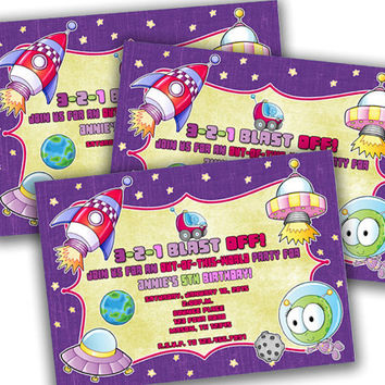 Girls Space Birthday Party Invitation - Pink Purple Outer Space Birthday Invitations - Girl Space Party - Purple Alien Party - Planets
