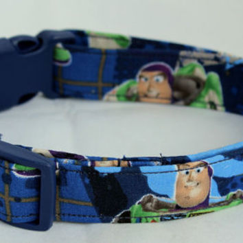 Toy Story Buzz Lightyear Dark Blue Dog Collar Size XS, S, M or L
