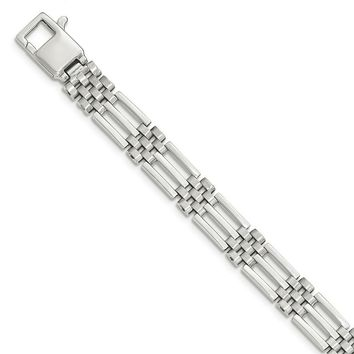Men's 9mm 14k White Gold Bar and Panther Link Bracelet, 8.5 Inch