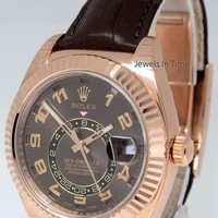 Rolex BRAND NEW Sky-Dweller 18k Everose Gold Chocolate Strap Box/Papers 326135