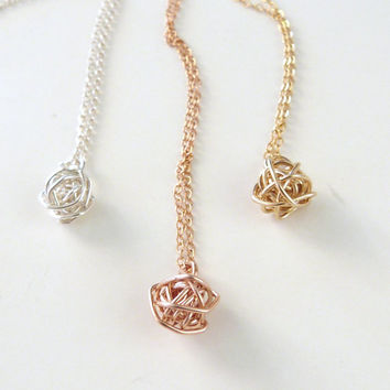 Love Knot Necklace Bridesmaid Jewelry Tie the Knot gifts Rose Gold Knot Necklace Gold Necklace Mother of the Bride Gift Best Friend Gift