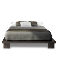 Queen Size Simple Modern Platform Bed Frame in Espresso Finish