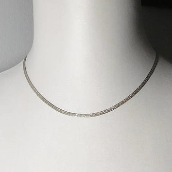 Sterling Silver 925 Flat Chain Choker Necklace Made in Italy Vintage Costume Jewelry 18 Inches