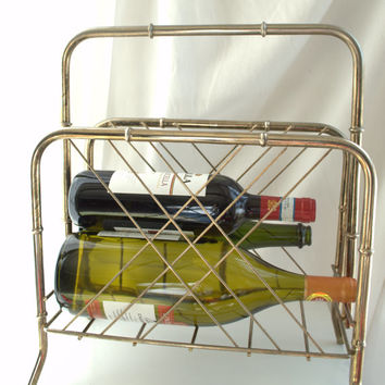 Art Deco 1950s Silver Wire and Faux Bamboo Brass Rack