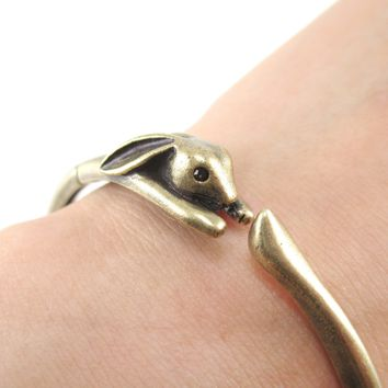 3D Bunny Rabbit Wrapped Around Your Wrist Shaped Bangle Bracelet in Brass