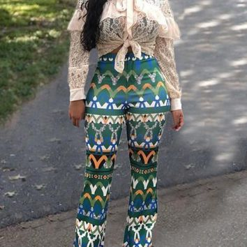 New Green Tribal Floral Pattern High Waisted Vintage Bell Bottom Flare Long Pants