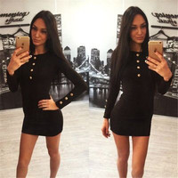 2016 Trending Fashion Women Sexy Long Sleeve Package Hip Button Erotic One Piece Dress _ 7281