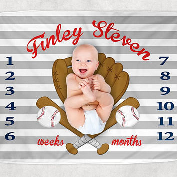 BASEBALL Baby Blanket Pillow Set, Baseball Milestone Blanket, Baseball Nursery Bedding, Personalized Boy Name Blanket - Baby Boy Shower Gift