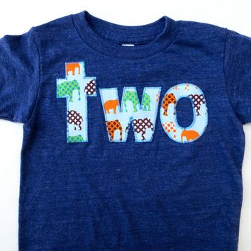 Elephant Birthday Shirt- Boys 2nd two  Birthday T Shirt - Zoo Animals or Circus Theme