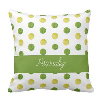 Watercolor Polka Dots Polyester Throw Pillow