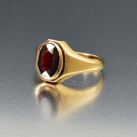 Exquisite 10K Yellow Gold Art Deco Signet Garnet Ring