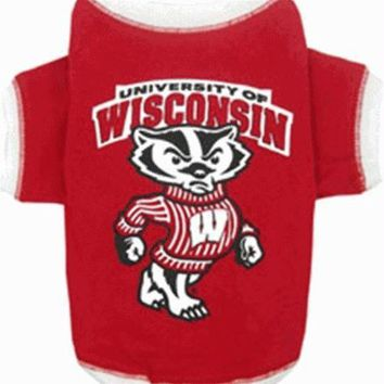 PEAPYW9 Wisconsin Badgers Dog Tee Shirt
