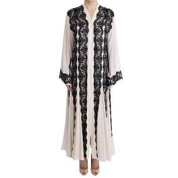 White Silk Floral Lace Kaftan Dress