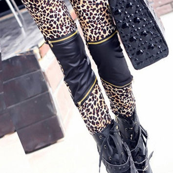 Leopard Leather Zipper Leggings