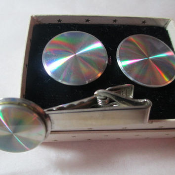 Vintage Rainbow Psychedelic Cufflinks and Matching Tie 1970s Disco Era Original Box Mens Jewelry Matching Set