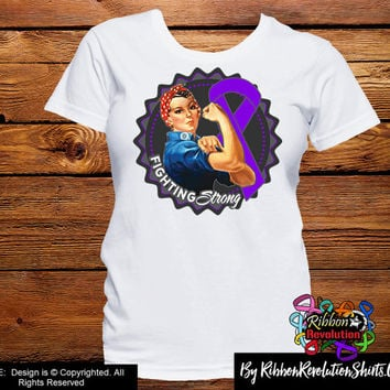Purple Ribbon Fighting Strong Rosie The Riveter Shirts (Crohns Disease, Cystic Fibrosis, Epilepsy, Fibromyalgia, Lupus, Pancreatic Cancer)