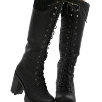 LACED UP KNEE HIGH BOOTS