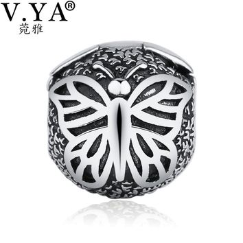 V.YA Butterfly Buckle Beads fit for Pandora Necklaces Bracelets Woman Man DIY Charm Bead for Jewelry Making Amazing Accessories
