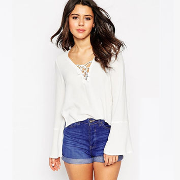 White V-Neck Chiffon Shirt